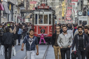 Taksim Tunel with free passengers , Istiklal avenue, Istanbul