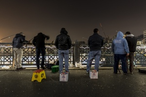 Fiskare på bron  på natten, Istanbul