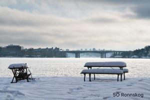 SOR Parkmöbler med snö, Tranebergs Strand